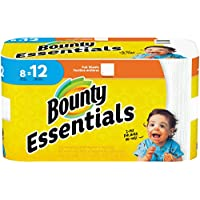 Bounty Essentials Paper Towels 8 Giant Rolls = 12 Regular Rolls (White)
