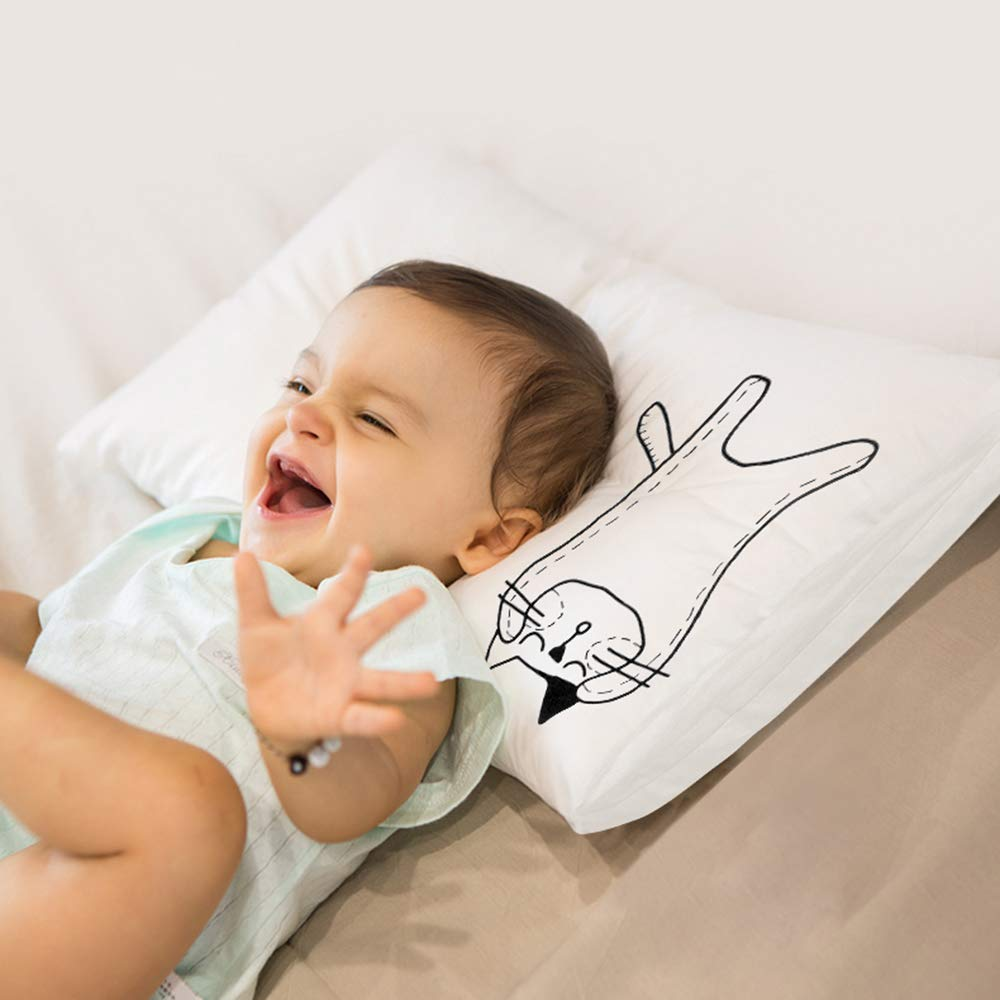 Cabanana Kids Toddler Pillow with 2 Washable Quality Pillowcases - 13X18 White Baby Bedding Pillows for Sleeping - Hypoallergenic and Breathable - Perfect for Travel, Bed Set and Home