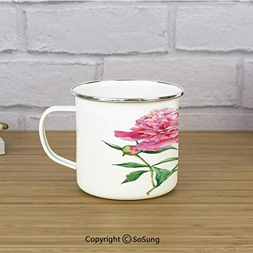 Watercolor Flower Enamel Coffee Mug,Vintage Peony Painting Botanical Spring Garden Flower Nature Theme,11 oz Practical Cup for Kitchen, Campfire, Home, TravelPink White Green