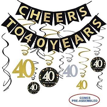 Amazon.com: 40 cumpleaños fiesta decoraciones Kit – Cheers a ...