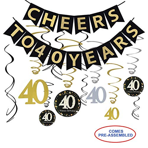 40th Birthday Party Decorations Kit - Cheers to 40 Years Banner, 12Pcs Sparkling 40 Hanging Swirl Decorations, Perfect 40th Anniversary Decorations 40 Years Old Party -