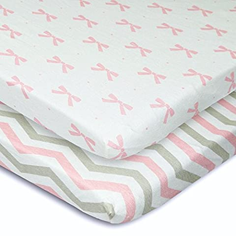 Cuddly Cubs Pack n Play Playard Sheets - Set of 2 Jersey Cotton Fitted Sheets for Mini/Portable Crib Mattress - Gray and Pink with Chevron, Dots & Bows - TOP QUALITY Nursery Bedding for - Magenta Twin Pack