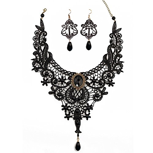 JoyTong Black Lace Necklace Earrings Set, Lace Pendant Choker and Eardrop (Black)