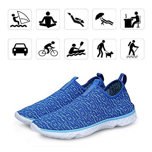KEALUX Männer Frauen Leichte Wasser Schuhe Mit Entwässerung Löcher Auf Unten Walking Sneaker Quick-Dry Wasser Sport Barfuß Schuhe Für Wasser Aktivitäten Blau