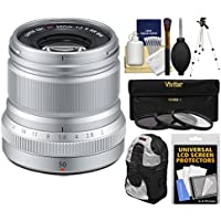 Fujifilm 50mm f/2.0 XF R WR Lens (Silver) with 3 UV/CPL/ND8 Filters + Tripod + Backpack + Kit
