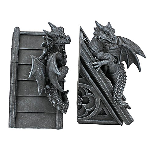 Dragon statue gothic castle dragons sculptural bookends - Gothic bookends ...