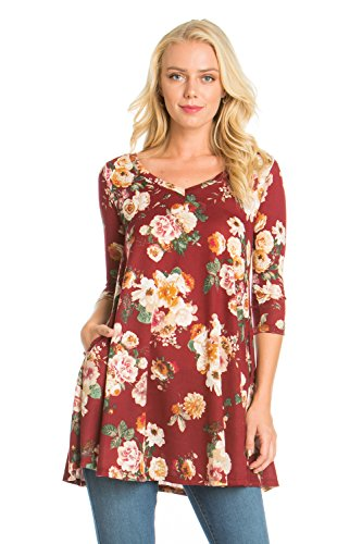 Print Side Burgundy Junky Women's Dress Top D3169onbz Tunic Pocket Closet qSCUnCEw