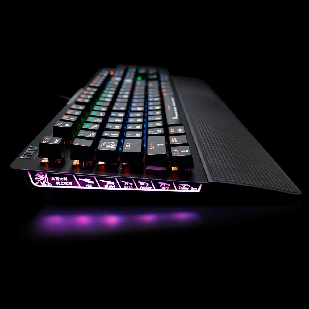 Spill-Resistant Non-Detachable Wrist Rest Wired FAMI KG202A Mechanical Gaming Keyboard for E-Sports Anti-Ghosting RGB LED Backlit Backlight 104 Keys IPX8 Waterproof Optical Mechanical Switch