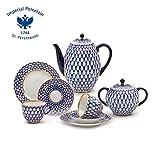 Imperial / Lomonosov Porcelain 'Cobalt Net' Coffee Set 20 pc. for 6 persons
