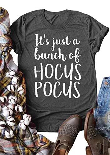 (Women It Just A Bunch of Hocus Pocus Halloween T-Shirt Short Sleeve O-Neck Top Tee (L,)