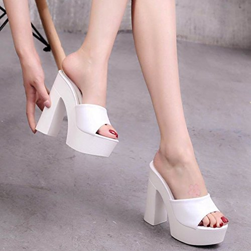 Rough Verano Drag Impermeable SCLOTHS blanco Flips High Heeled Flops The Word qPPwzx