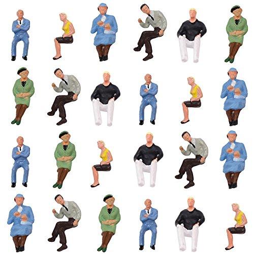 情景コレクション P4802 人間 人形 人物 人間フィギュア 着席人 座っている人形 塗装人 1:43 24本入り 箱庭 装飾 鉄道模型 建物模型 ジオラマ 教育 DIY