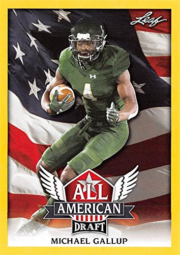 Michael Gallup Football Card (Colorado State Rams, Dallas Cowboys) 2018 Leaf Draft All American GOLD #AA9 Rookie