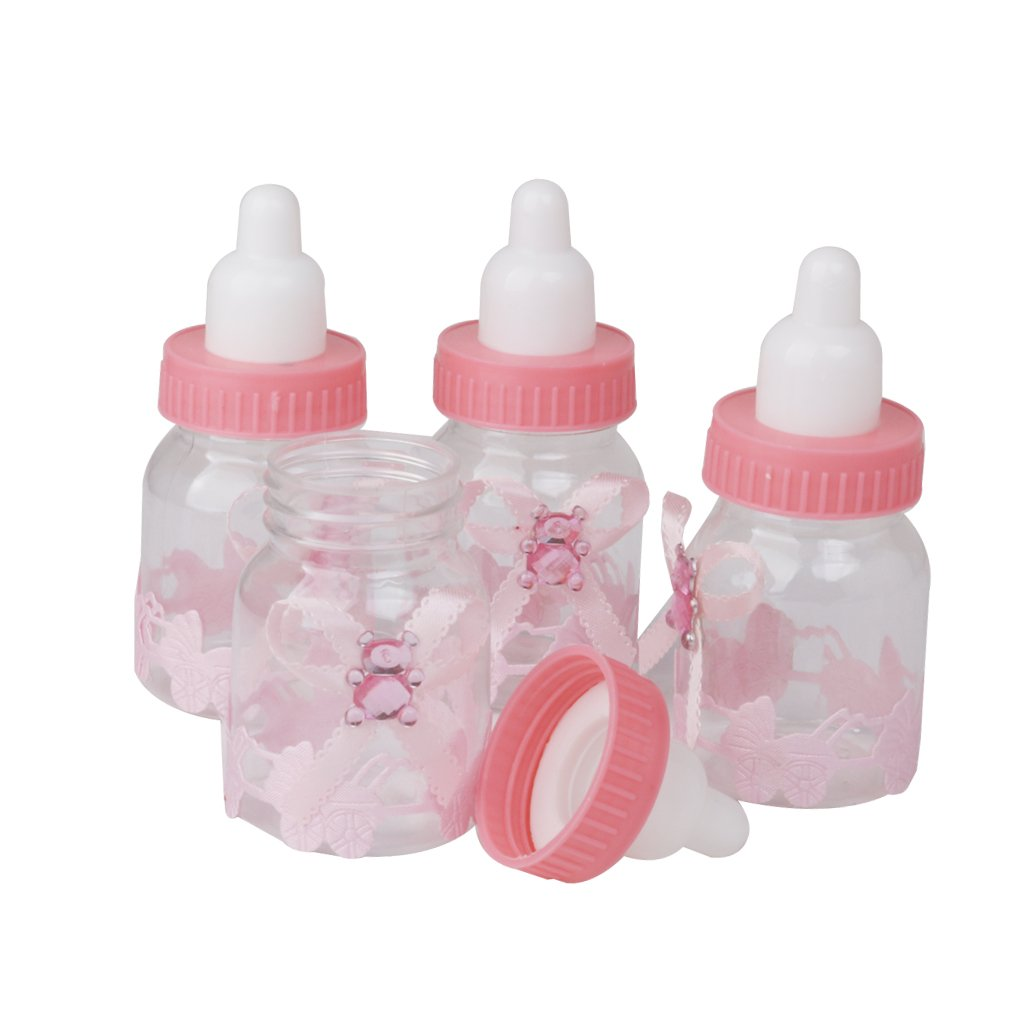 Segolike 24 Pieces Pink Fillable Bottles Candy Box Baby Shower ...