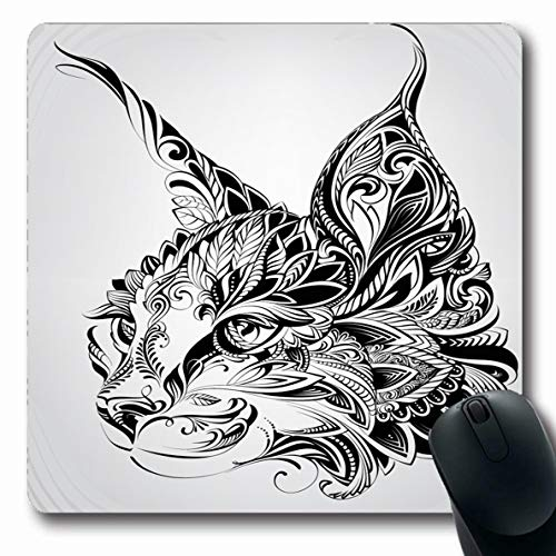 Ahawoso Mousepad Oblong 7.9x9.8 Inches Wild Lynx Head Cat Vintage Coloring Face Tattoo Tribal Abstract Attractive Design Ornate Office Computer Laptop Notebook Mouse Pad,Non-Slip Rubber