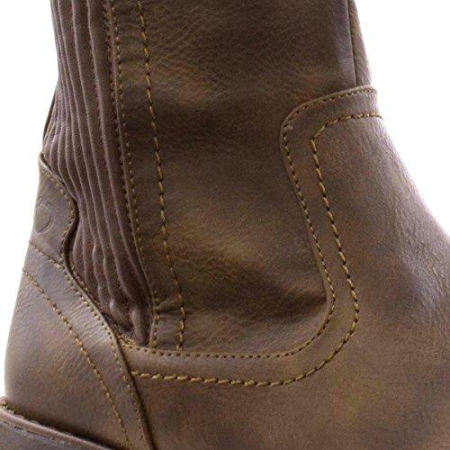 HEAVENLY FEET Braune Gefaltete Knie-Hohe Aufladung der Frauen durch Braun