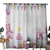 NUOMANAN Blackout Curtain Panels Window Draperies Kids Birthday,Baby Girl Birthday Celebration Party with Flags and Bears Cute Toys Print,Light Pink,for Bedroom, Kitchen, Living Room 84''x84''