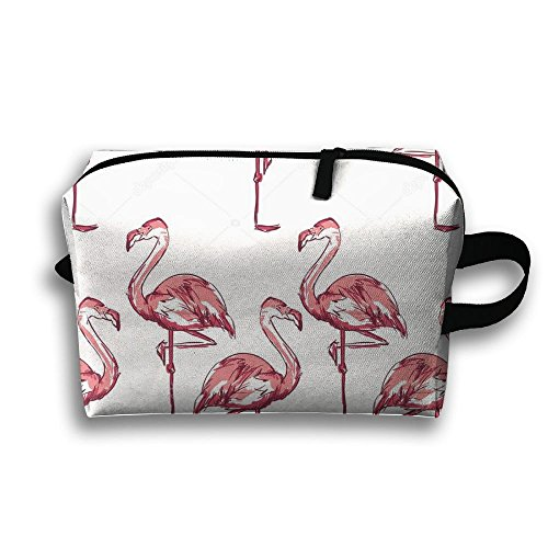 DTW1GjuY Lightweight And Waterproof Multifunction Storage Luggage Bag Flamingo Sketch by DTW1GjuY