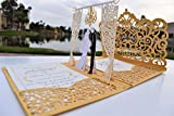 Gold Laser Cut 3D Pop Up Wedding Invitations Designed by Tada Cards