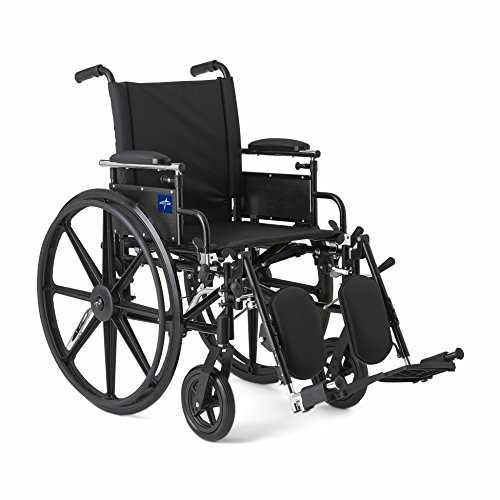 (Medline Robust and Rugged Wheelchair with Flip-Back Desk Arms, Removable Elevating Leg Rests and Anti-Tippers, Black, 18