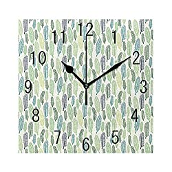 FUWANK Square Wall Clock Battery Operated Quartz Analog Quiet Desk 8 Inch Clock, Doodle Style Leaves Freshness of The Spring Season Theme Palm Tree Foliage Art