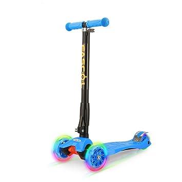Fascol Scooter Plegable de 3 Ruedas para Niños de 3 - 12 Años, con Protector de Rodilla y el Codo, Rueda Brillante, Patinete para Niños, Azul