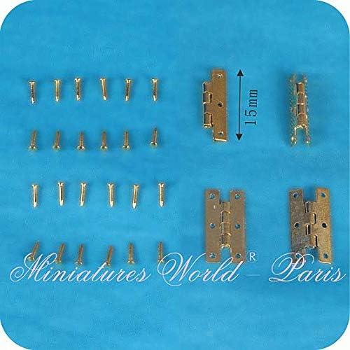 Miniatures World 4 Charni/ères en m/étal pour d/écors Miniatures et Maisons de poup/ées /à l/échelle 1:12