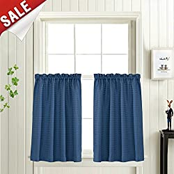 """Waffle-Weave Tier Curtains for Kitchen Water Repellent Bathroom Curtain Panels (72"""" x 36"""", Royal Blue, Set of Two)"""