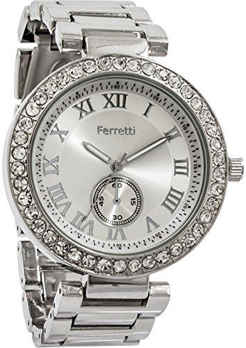 Ferretti Women's | Glamourous Silver-Tone Diamond-Studded Bezel Bracelet Watch | FT12601 (Studded Bezel)
