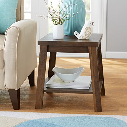 Logan Side Table with Storage shelf, Canyon Walnut