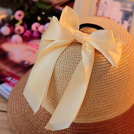 niceeshop(TM) Fashion Double Layer Bowknot Ribbon Nylon Cloth Hair Band Ties (Khaki)