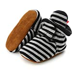 Isbasic Unisex Baby Cotton Booties Non-Slip Sole for Toddler Boys Girls Infant Winter Warm Fleece Cozy Socks Shoes (0-6 Months Infant, C/Light Grey)