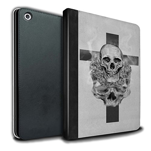 Crucifix Life (STUFF4 PU Leather Book/Cover Case for Apple iPad 9.7 (2017) tablets/Cross/Crucifix Design/Skull Art Sketch Collection)