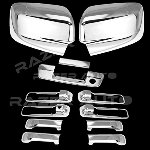Razer Auto Regular Mirrors only (Not for Towing Mirror) Triple Chrome Plated Mirror, 4 DH Without Passenger KH, Tailgate With Keyhole without Camera hole Cover for 09-15 Dodge Ram 1500, 10-15 Ram 2500 Chrome 1500 Triple Handle