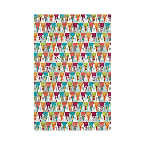 Polyester Garden Flag Outdoor Flag House Flag Banner,Indie,Triangles Pattern with Deer Elk Portraits Geometric Colorful Funky Hipster Tile Urban Decorative,Multicolor,for Wedding Anniversary Home Outd (Elk Portrait)