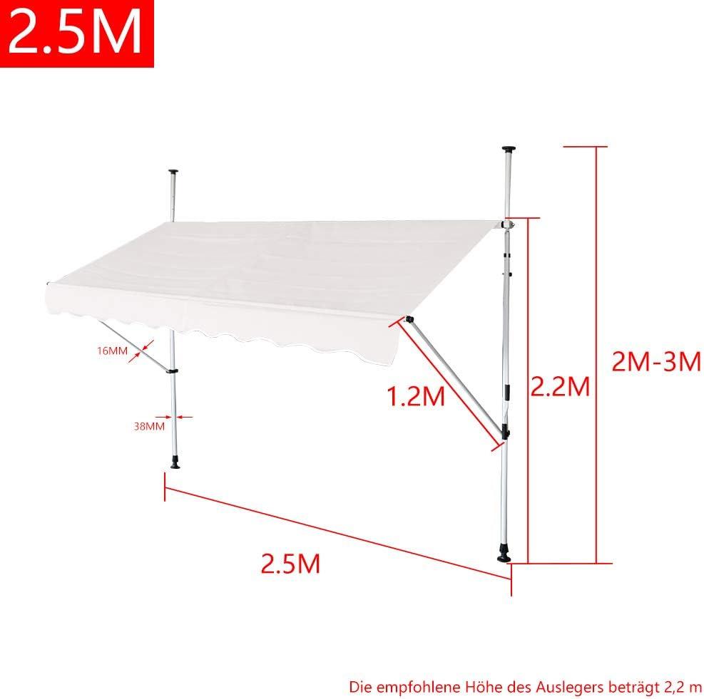 Parasole Senza Fori HENGMEI Tenda da Sole Retrattile per Balcone con Morsetto Regolabile in Altezza