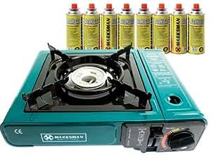 Hornillo portátil de gas + 8 botellas de butano para camping