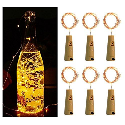 [6pcs-Pack]Wine Bottle String Lights, LED Cork Lights Copper Wire Wine Bottle Lights For DIY Party Wedding Christmas Halloween Festival Decoration (Warm White)