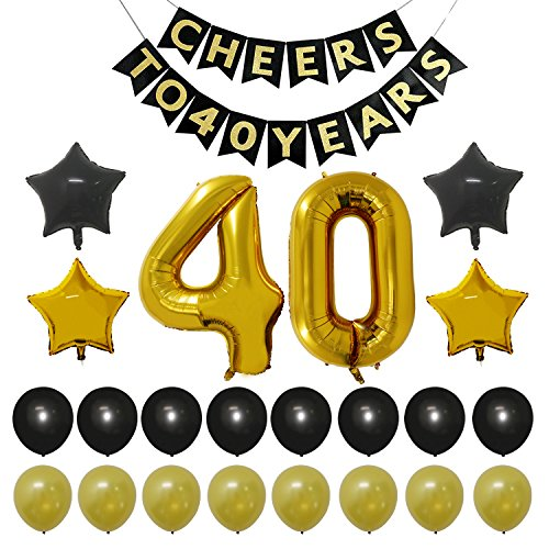 "40th Birthday Anniversary Party Decorations Kit - Vintage ""CHEERS TO 40 YEARS"" Banner, Number 40 Gold Balloons , Gold and Black Balloons Pack, Perfect For 40 Years Old Party Supplies Favors"