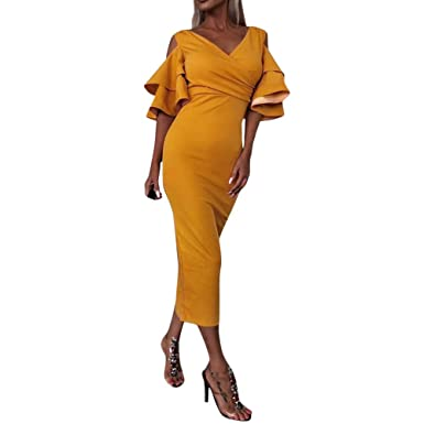 1769ee8f0ec39 Robe TricotéE en Laine Femme ELECTRI Femmes Robe Pull Sexy Moulante Coupe  Slim Split Fourreau Chic