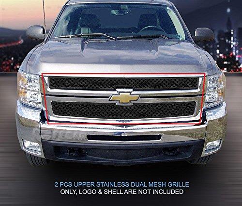 (Fedar Main Upper Dual Weave Mesh Grille for 2007-2010 Chevy Silverado 2500HD/3500HD)