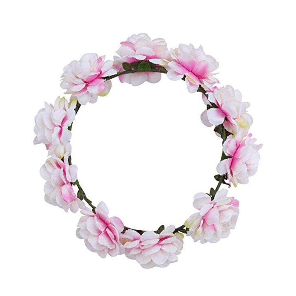 Fletion Bohemia Corona Da Spiaggia Rose Fiori Corona Da Sposa Corona di damigella cinghia di simulazione di fiori artificiali fatte a mano per decorazione di festa