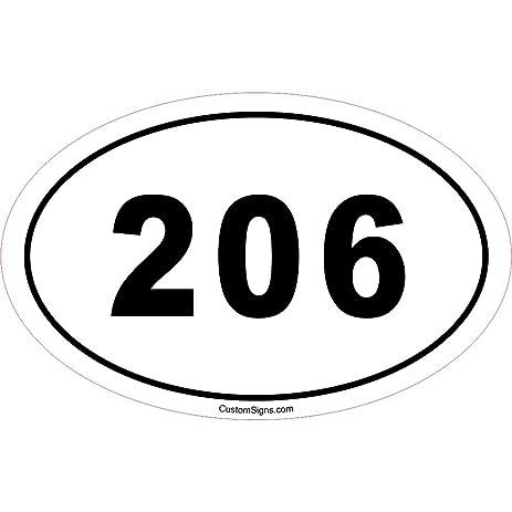 Amazoncom Area Code Bumper Sticker For Car Automotive - 206 area code