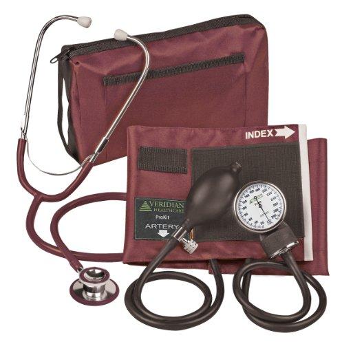 Veridian 02-12704 Aneroid Sphygmomanometer with Dual-head Stethoscope Kit, Adult, Burgundy Dual Head Kit