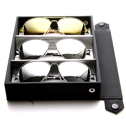 zeroUV - Premium Mirrored Aviator Top Gun Sunglasses w/ Spring Loaded Temples (Deluxe 3-Pack | Silver + Gold + - Premium Sunglasses