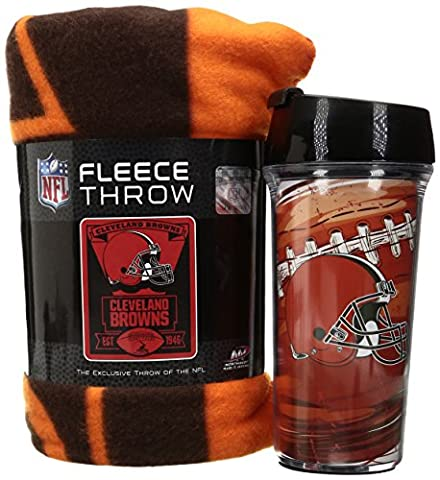 NFL Cleveland Browns Printed Fleece Throw and 16-ounce Travel Mug - Cleveland Browns Bedding