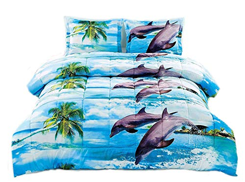 HUAJIE 3 Piece Set Soft 3D Print Animals Pattern Comforter Set,Dancing Dolphin in The Blue Ocean Bay and Palm Tree Island (King, Coconut Tree Dolphin)