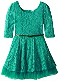 Beautees Big Girls' Allover Lace Dress, Emerald, 14