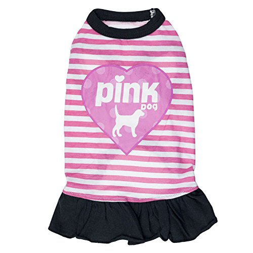 Image of Ollypet Cute Funny Dog Dress Pink Dog for Small Pets Girl Clothes Striped Skirt Summer Apparel M