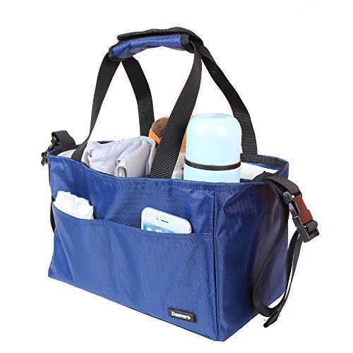 Damero Organizador para pañales de bebé Mochila de cambios Bolsa para guardar juguetes para bebés, con correas apto para cochecito, Gris Azul oscuro